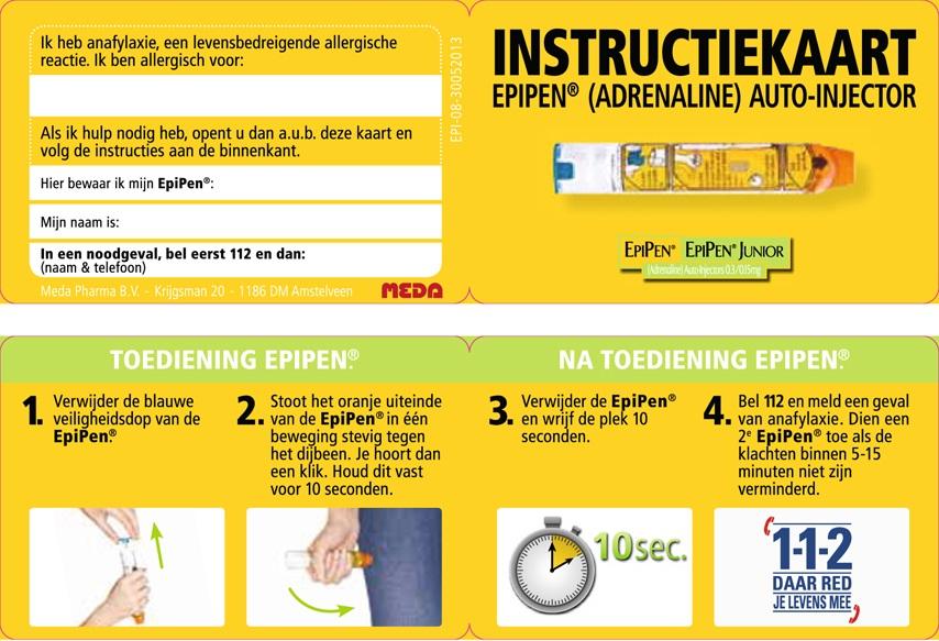 Instructiekaart epipen toedienen